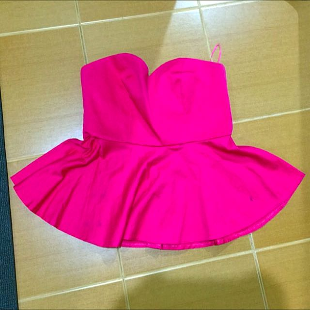 Jellybean Peplum Tube Top In Pink