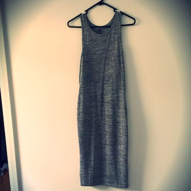 Long Grey Dress Knit Wear Size M
