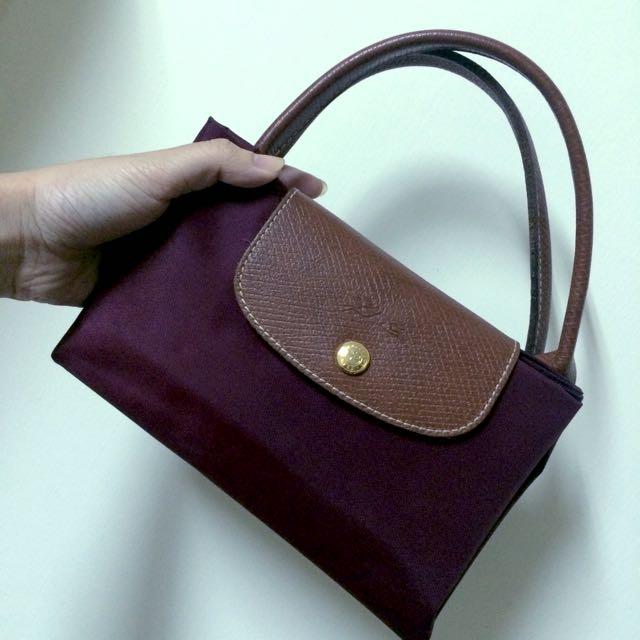 Longchamp 酒紅色 短把m號