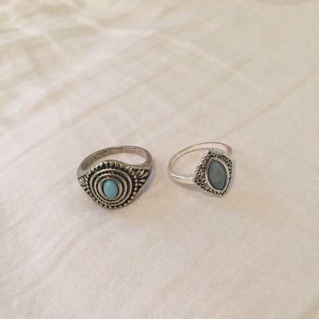 Lovisa Teal Rings