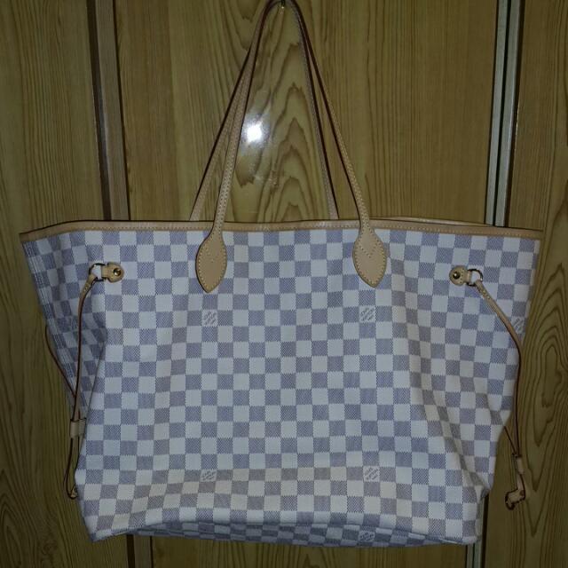 降!LV超大白色棋盤格 購物包 側背包