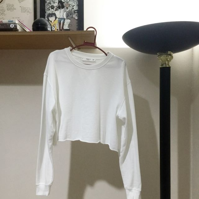MANGO WHITE CROPPED SWEATER