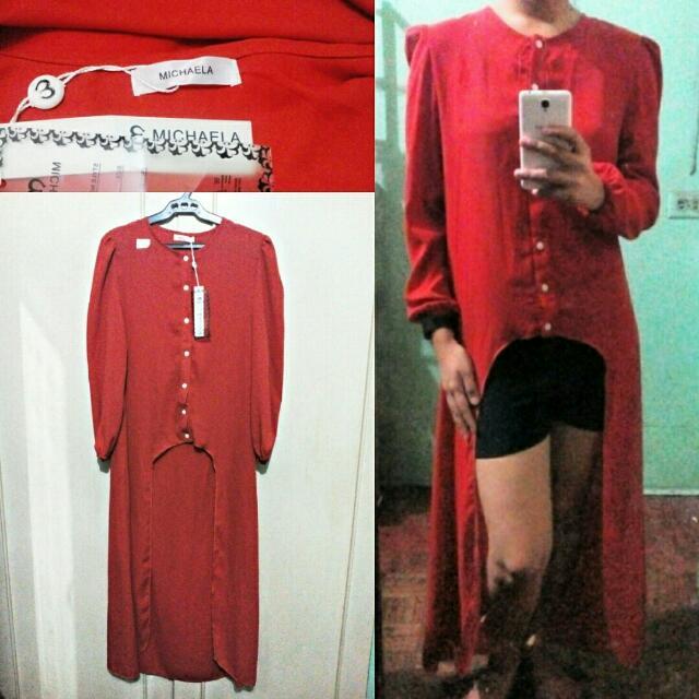 Michaela Red Orang Long Sleeved Dress