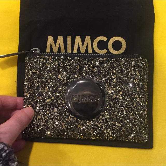 Mimco Small Tiny Sparks Pouch Black/Gold