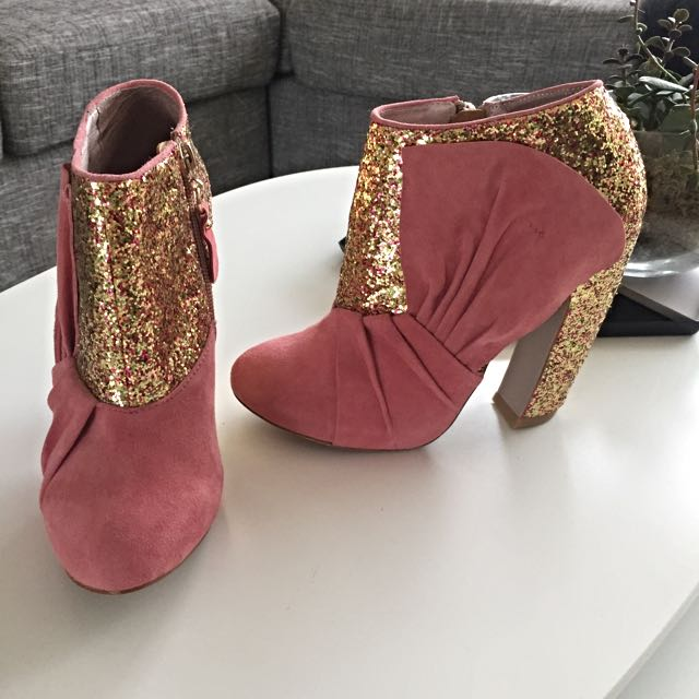 Miu Miu Inspired Glitter & Suede Leather Booties Size 6