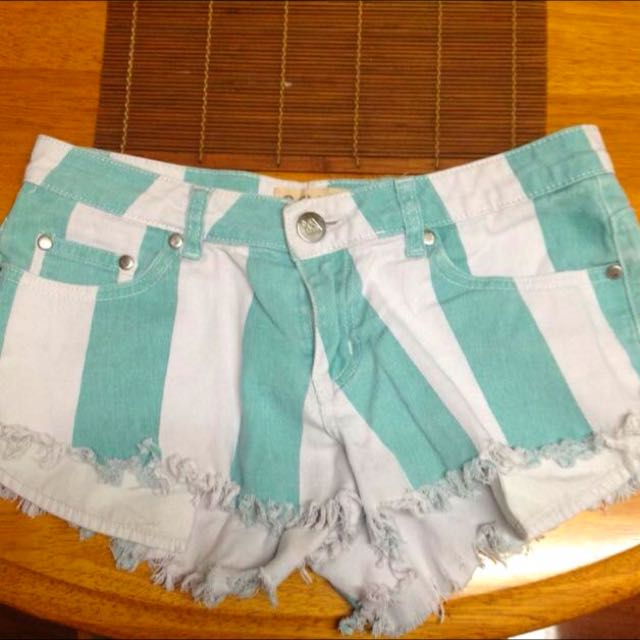 Teal And White Shorts
