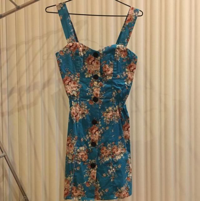 'Red Berry' Blue Floral Dress