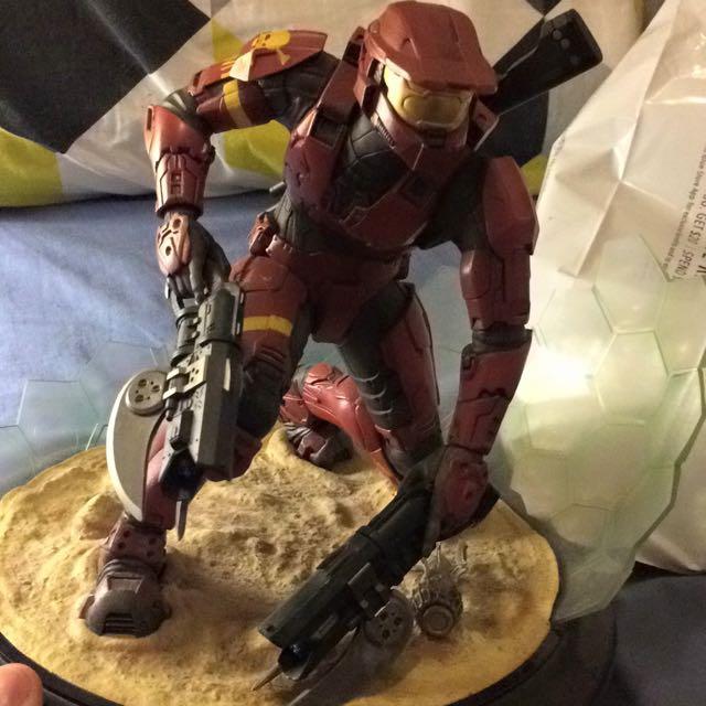 Red Spartan Statue