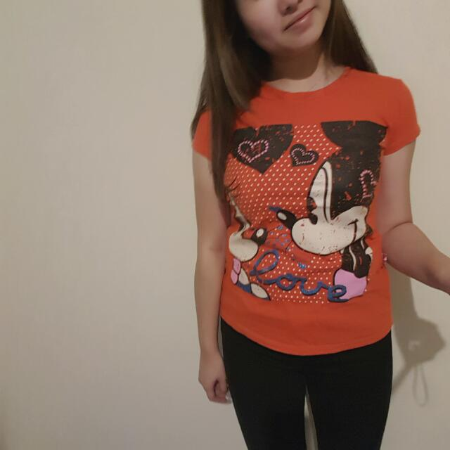 Small Disney Mickey & Minnie Mouse Print Top (Unofficial)