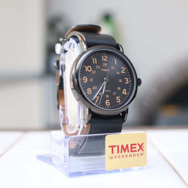 Timex Weekender Black Dial, Gold Index, Gunmetal Case, Leather Nato Strap Watch
