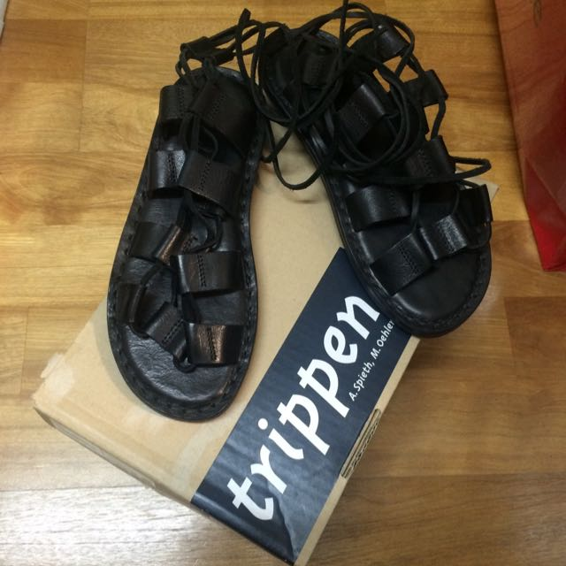 trippen 綁帶 羅馬 黑色 涼鞋