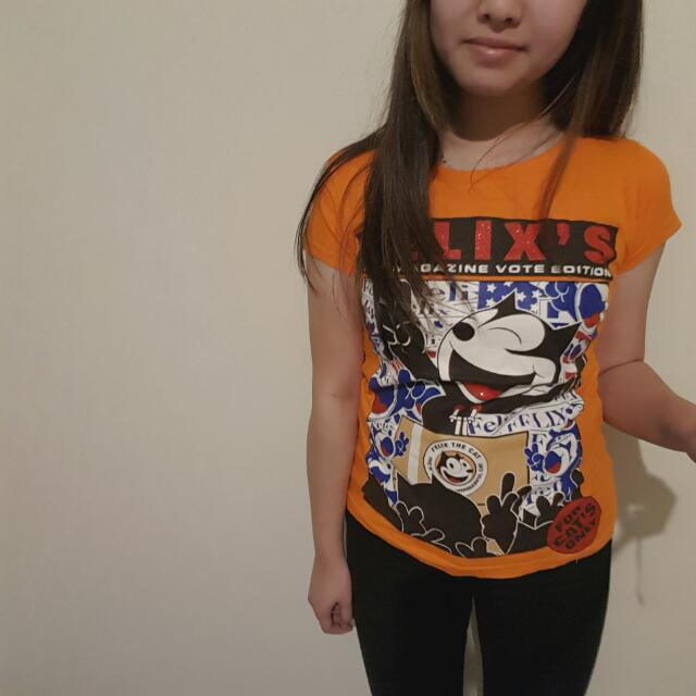 Extra Small Felix The Cat Print Top (Unofficial)