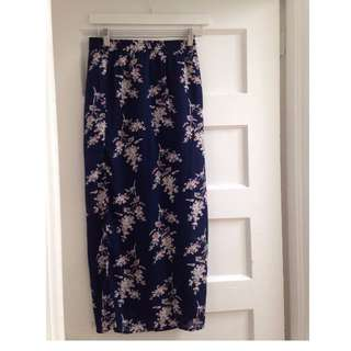 Navy Floral Maxi Skirt- Small