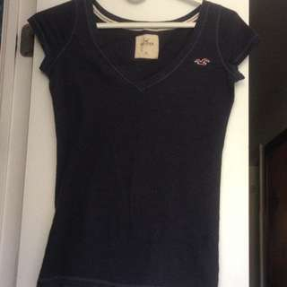 Hollister Navy Blue V Neck
