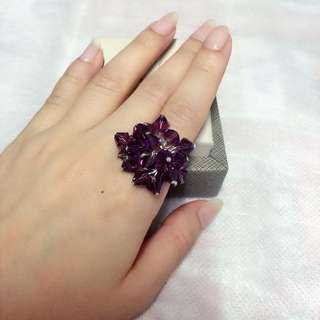 粒粒水晶戒指(紫色,藍色,綠色)