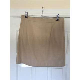 Beige Leather Bardot Skirt