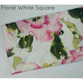 Floral White Square Hijab (segi 4)