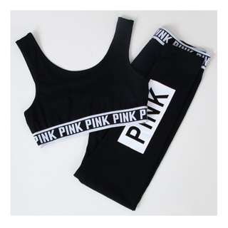 BRAND NEW VICTORIAS SECRET 'PINK' LABEL SEXY BLACK WORK OUT YOGA GYM OUTFIT SZ 8