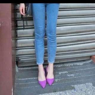 🚚 正韓紫色低跟尖頭鞋(全新)