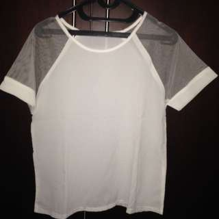 White Transparent Sleeve Shirt (Lengan Pendek Transparan)