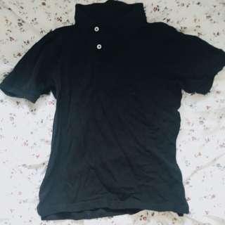 Lativ黑色素面polo衫S號