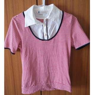 專櫃Cotton inn 紅色 橫條紋 襯衫上衣