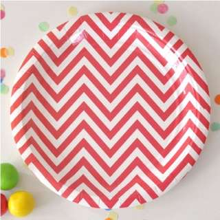 Chevron Red Large Plate - Pack of 12 Zoom   Chevron Red Large Plate