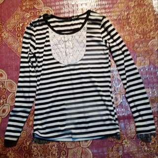Korean Top Stripes with Ribbon Studded