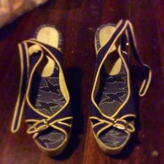 Navy Blue And Yellow Wedged Heels