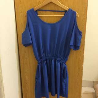 露肩寶藍色洋裝/長版上衣