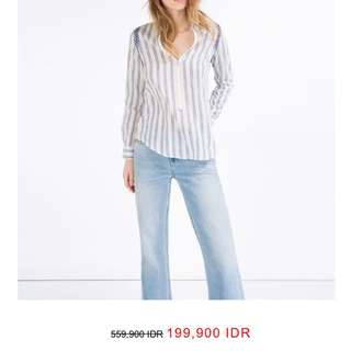 Dicari Kemeja Zara Embroided White Stripe Shirt