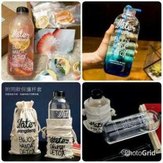 :. 日韓時尚創意玻璃杯-含布袋(1000ml)