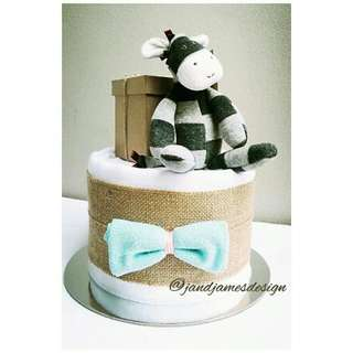 Classic Bow Tie 1-Tier Nappy Cake Design