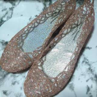Pink Glitter Jelly Shoes/flats