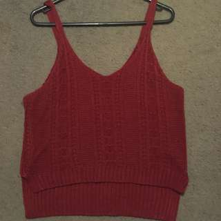 Maroon Red Deep Knit Knitted Singlet Top Tank Scrappy Strap Low Long Hem