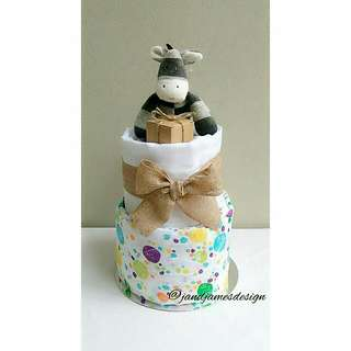 "2-Tier ""Zebra"" Nappy Cake Design"
