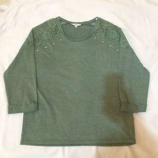 New Look Knit Lace Blouse with Stud