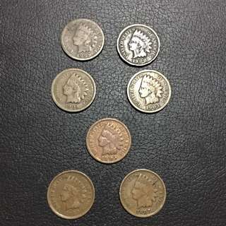 Various Year (1889 To 1907) Indian Head Coins