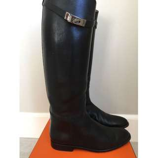 Hermes Black Swift Leather Tall Jumping Riding Boots