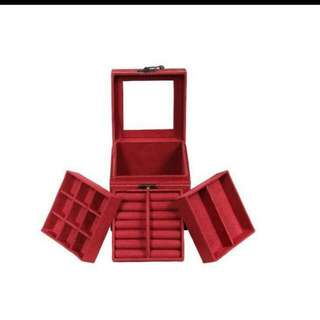 歐式彷麂皮絨精緻三層公主 飾品盒/首飾盒/收納盒/情人節禮物/生日禮物 送禮首選