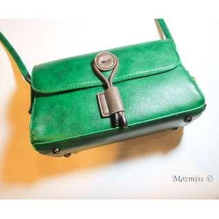|復古 森系 古著|綠色小包