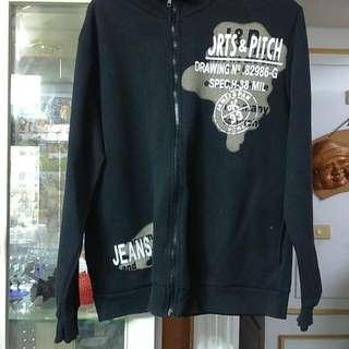 降-黑色棉質外套