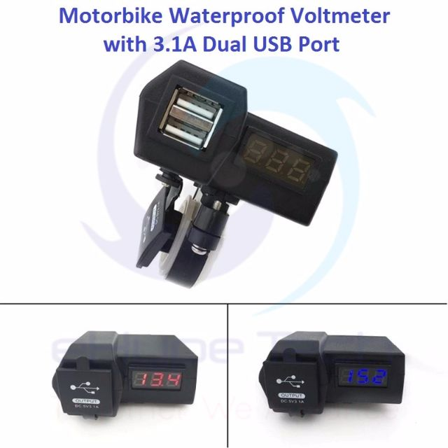 ★★ 12 - 24V Motorbike Waterproof Voltmeter Gauge / Motorcycle Volt Meter with 5V 3.1A Dual USB Charger Port Waterproof cover ★★  Blue / Red LED Light Digital Display ★★