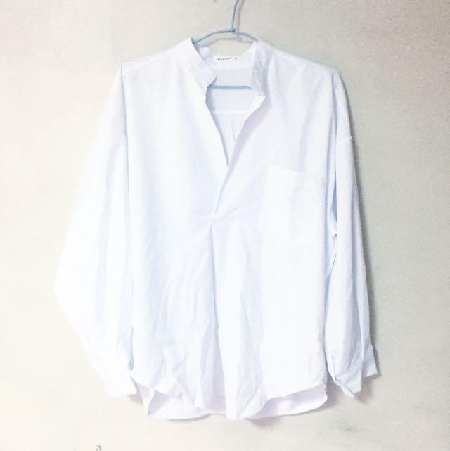 (保留)歐美慵懶男友風寬鬆襯衫-白
