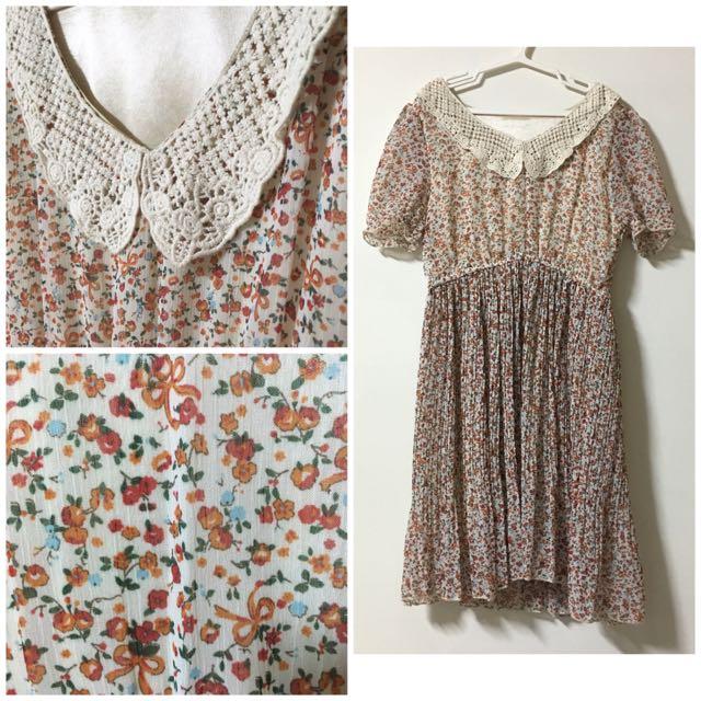 🌺粉嫩花草蕾絲領古著洋裝🌺