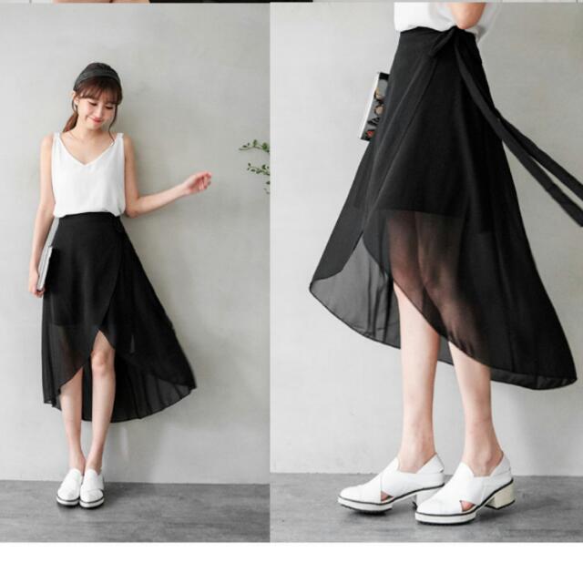 交叉雪紡裙(黑)