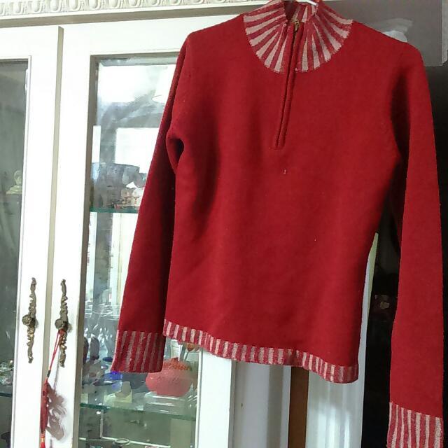 紅降-色針織毛衣