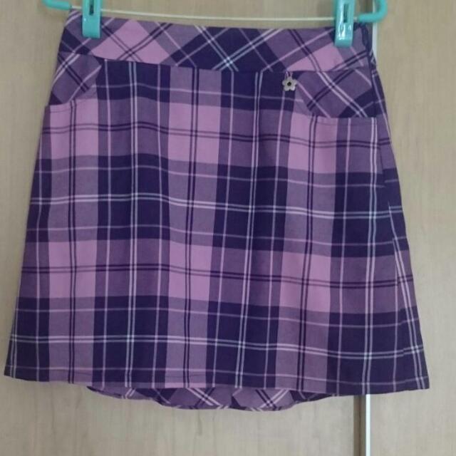 [全新] MA TSU MI 粉紫格紋裙