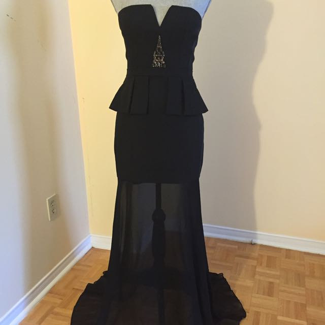 BCBG Evening Gown Black With Crystals