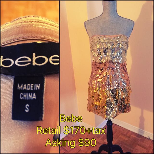 Bebe Cocktail Dress With Gold Sequences